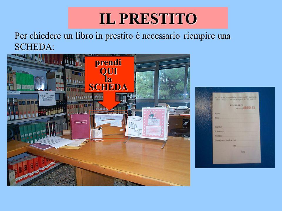 IL PRESTITOPer chiedere un libro in prestito è necessario riempire una SCHEDA: prendi.