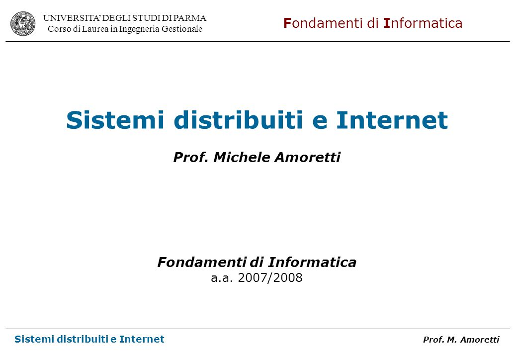 Sistemi distribuiti e Internet