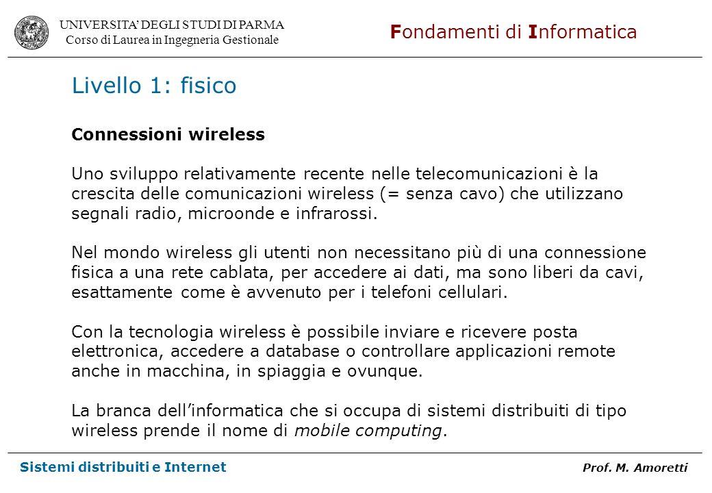 Livello 1: fisico Connessioni wireless