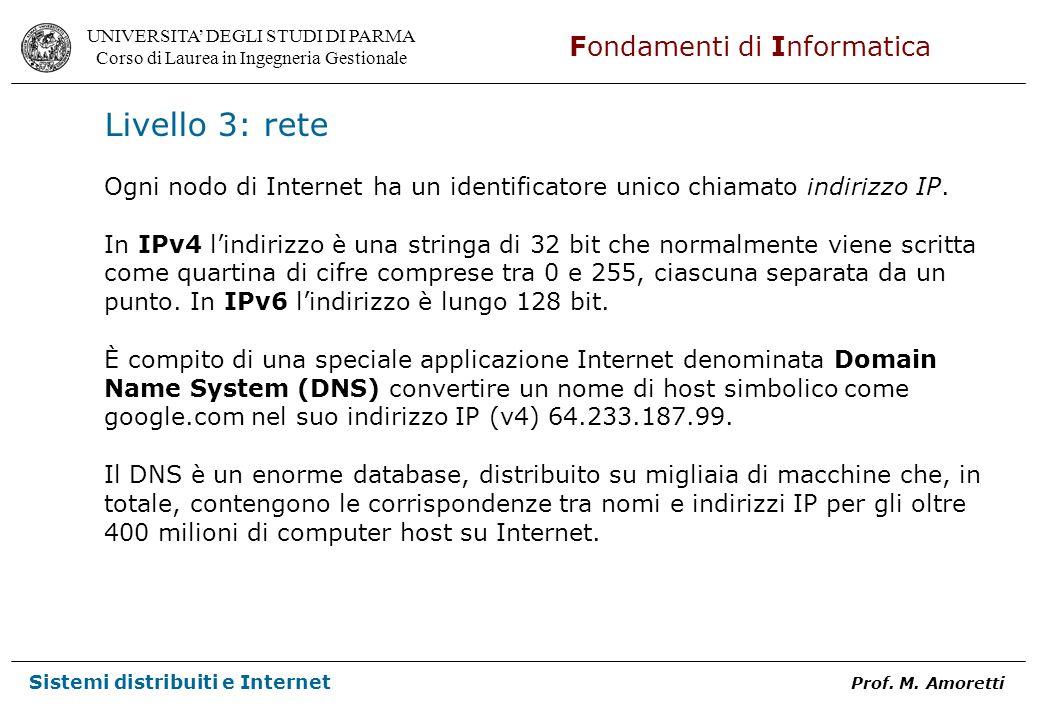 Livello 3: rete Ogni nodo di Internet ha un identificatore unico chiamato indirizzo IP.