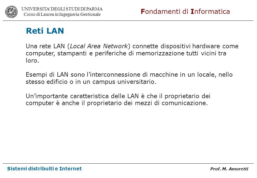 Reti LAN Una rete LAN (Local Area Network) connette dispositivi hardware come. computer, stampanti e periferiche di memorizzazione tutti vicini tra.