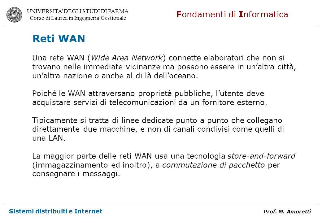 Reti WAN Una rete WAN (Wide Area Network) connette elaboratori che non si. trovano nelle immediate vicinanze ma possono essere in un'altra città,