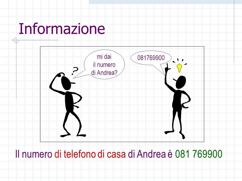 Informazione Il numero di telefono di casa di Andrea è 081 769900
