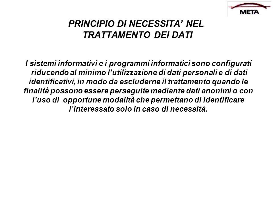 PRINCIPIO DI NECESSITA' NEL TRATTAMENTO DEI DATI