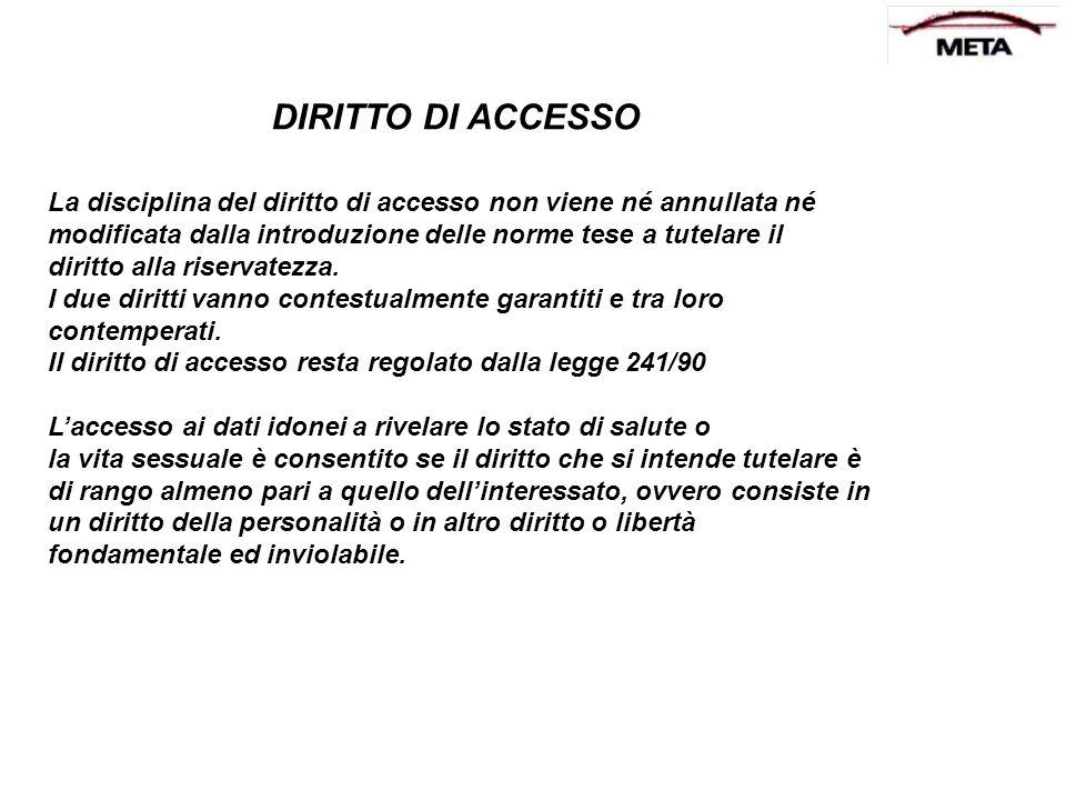 DIRITTO DI ACCESSO La disciplina del diritto di accesso non viene né annullata né. modificata dalla introduzione delle norme tese a tutelare il.
