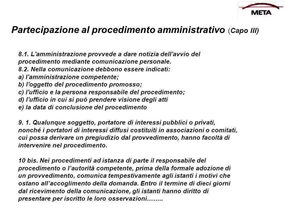 Partecipazione al procedimento amministrativo (Capo III)