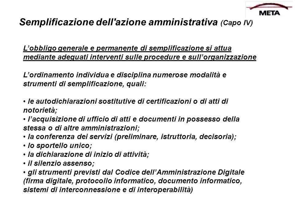 Semplificazione dell azione amministrativa (Capo IV)