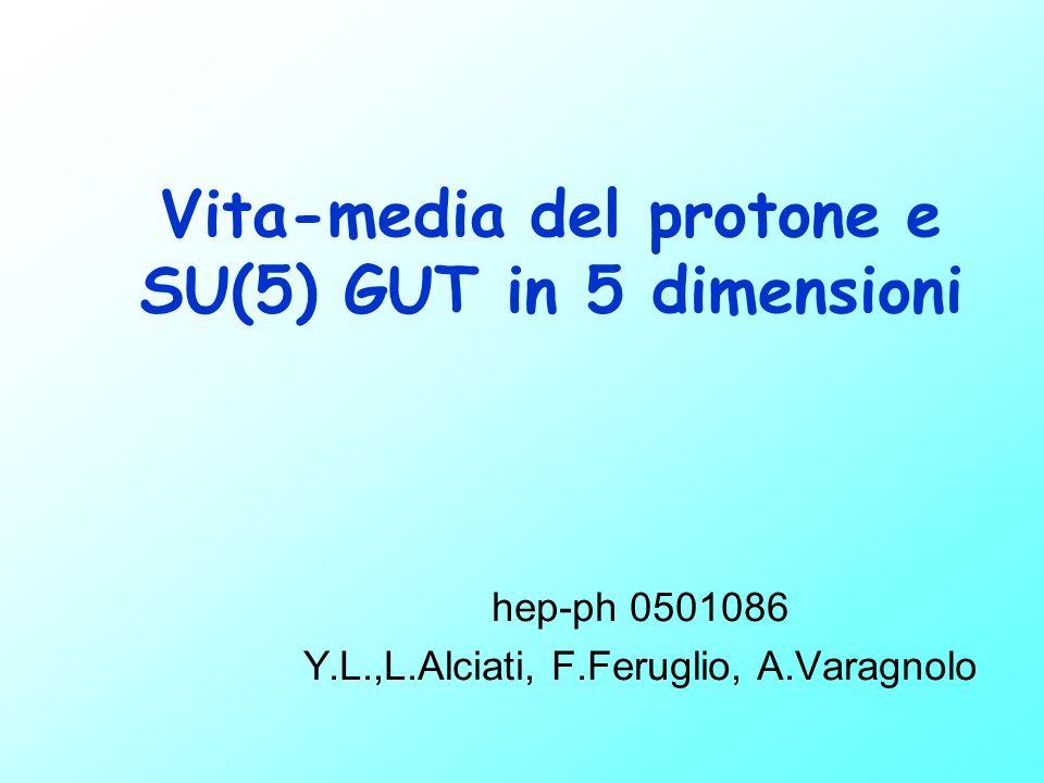 Vita-media del protone e SU(5) GUT in 5 dimensioni