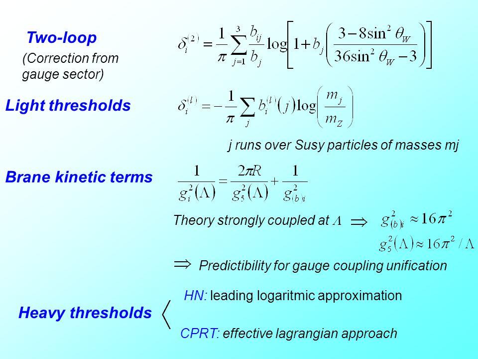 Two-loop Light thresholds Brane kinetic terms Heavy thresholds
