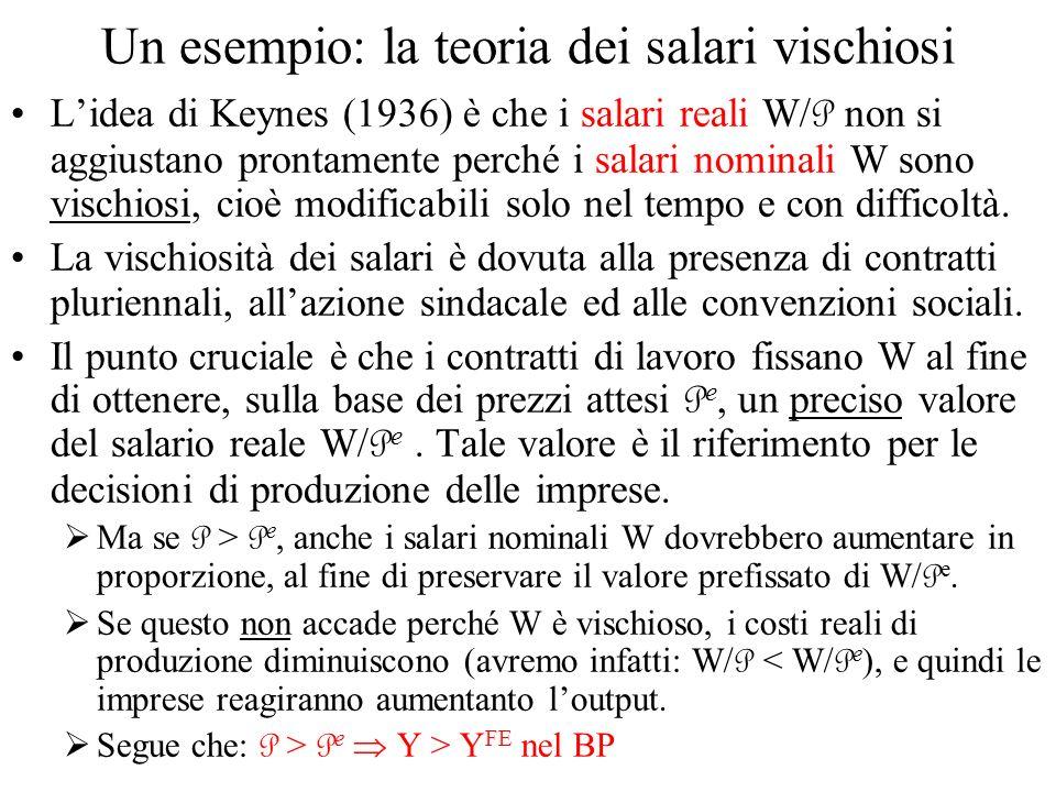 Un esempio: la teoria dei salari vischiosi