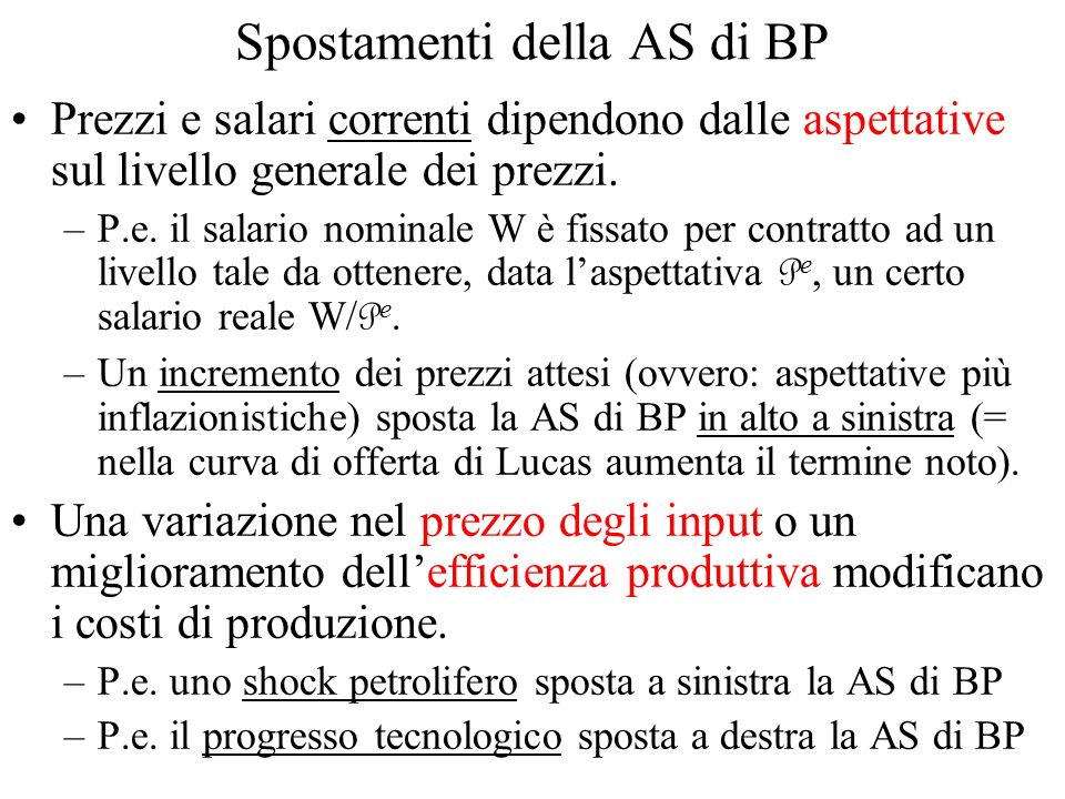 Spostamenti della AS di BP