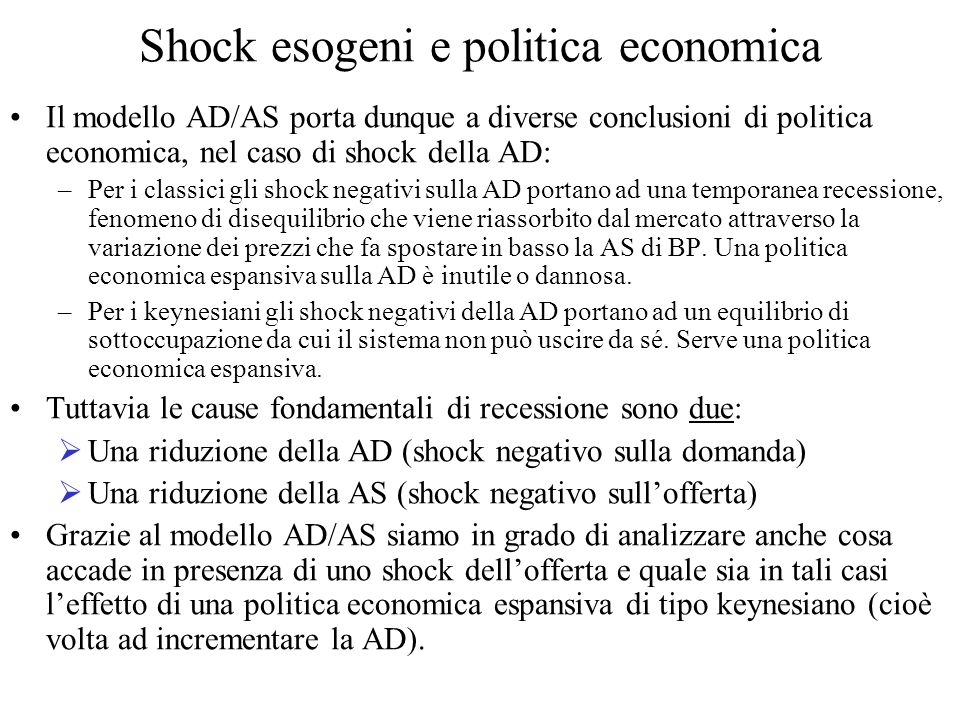 Shock esogeni e politica economica