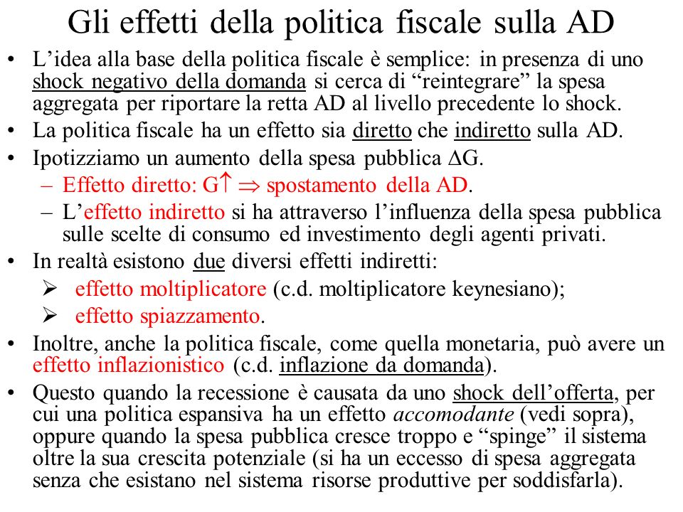 Gli effetti della politica fiscale sulla AD