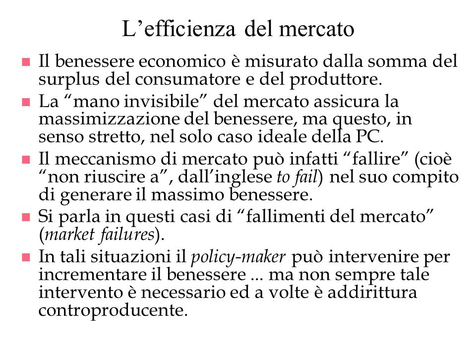 L'efficienza del mercato