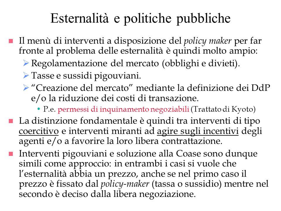 Esternalità e politiche pubbliche
