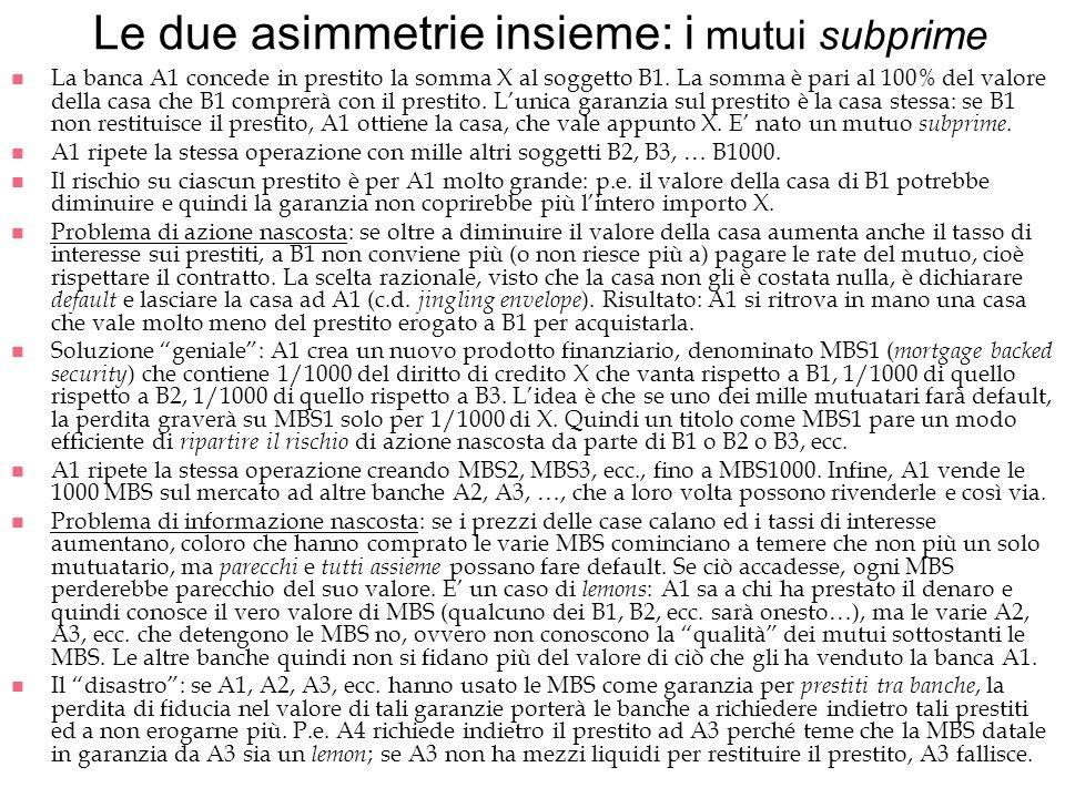 Le due asimmetrie insieme: i mutui subprime