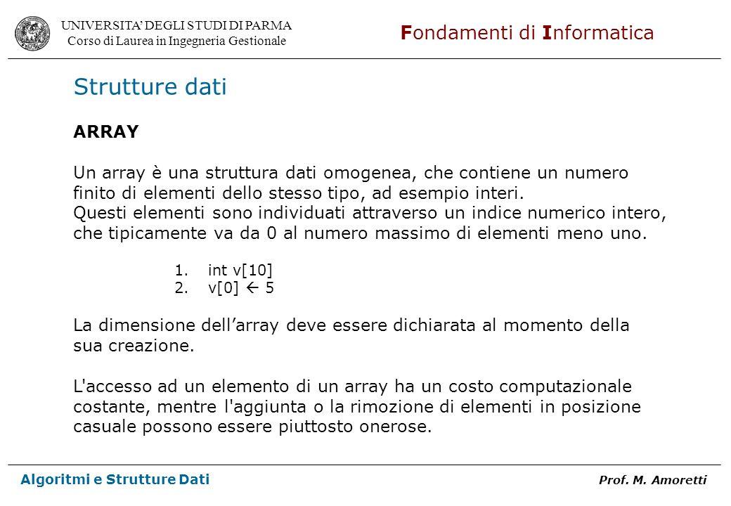 Strutture dati ARRAY. Un array è una struttura dati omogenea, che contiene un numero. finito di elementi dello stesso tipo, ad esempio interi.