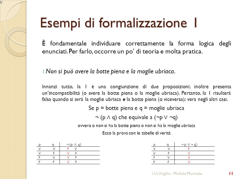 Esempi di formalizzazione 1