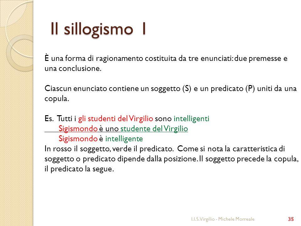 Il sillogismo 1 È una forma di ragionamento costituita da tre enunciati: due premesse e una conclusione.