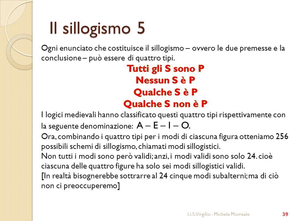 Il sillogismo 5 Tutti gli S sono P Nessun S è P Qualche S è P