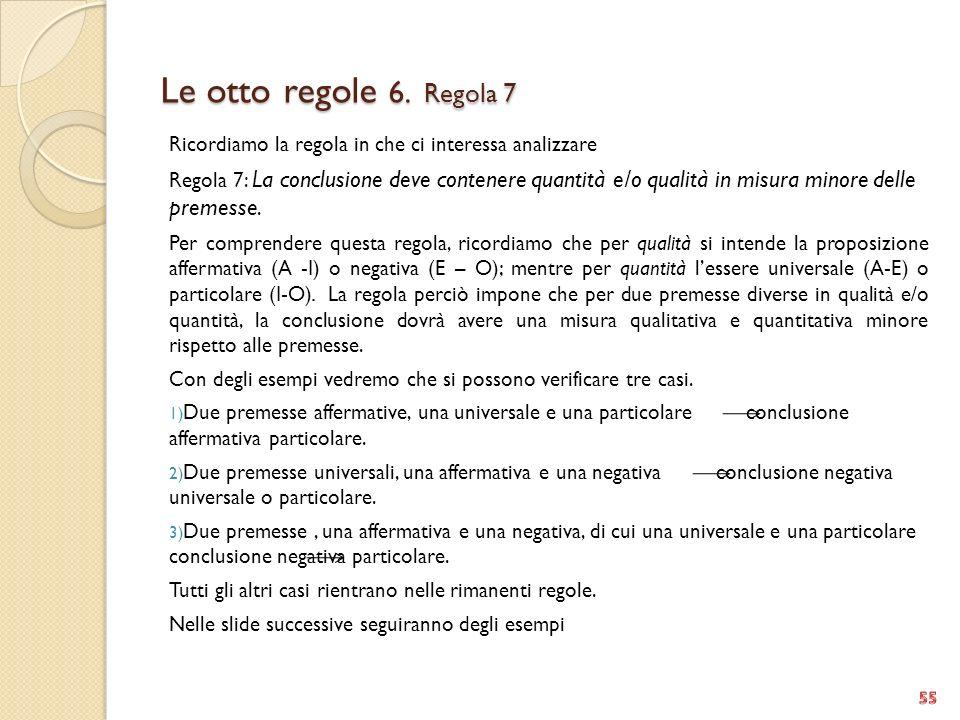 Le otto regole 6. Regola 7 Ricordiamo la regola in che ci interessa analizzare.