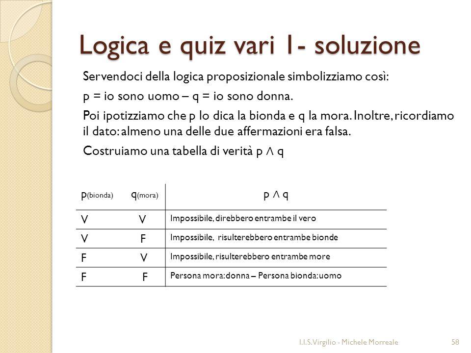 Logica e quiz vari 1- soluzione