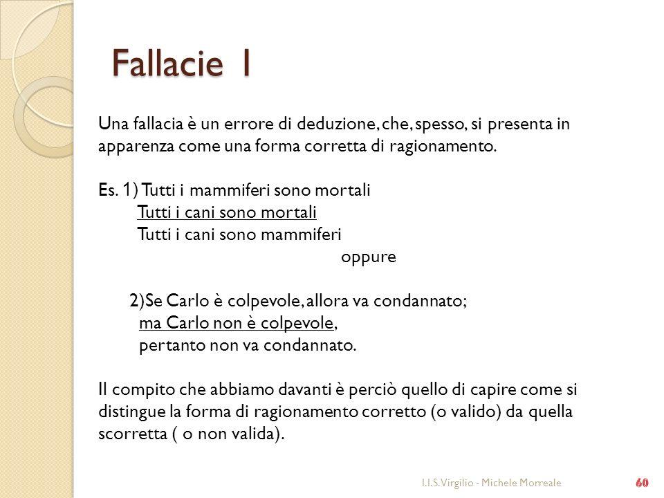 Fallacie 1 Una fallacia è un errore di deduzione, che, spesso, si presenta in apparenza come una forma corretta di ragionamento.