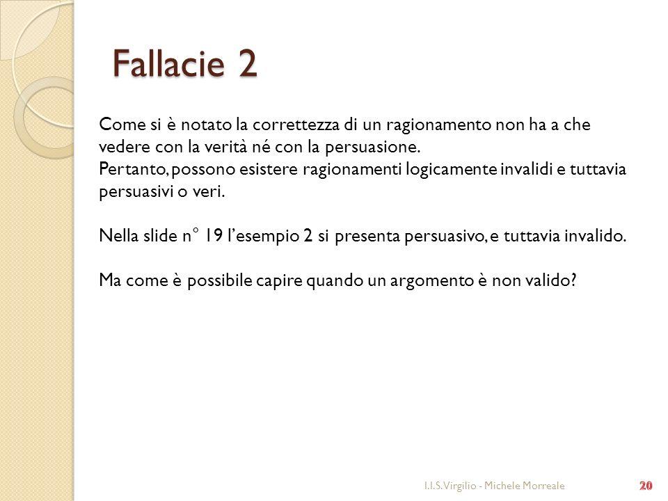 Fallacie 2 Come si è notato la correttezza di un ragionamento non ha a che vedere con la verità né con la persuasione.