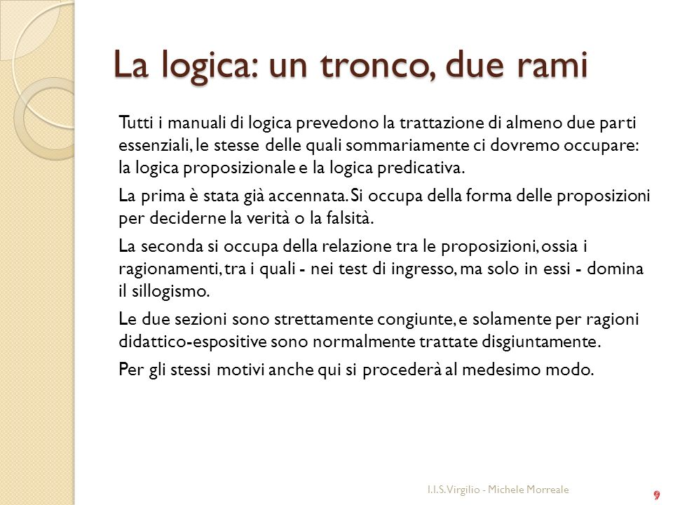 La logica: un tronco, due rami
