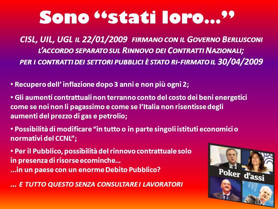 Sono stati loro… CISL, UIL, UGL il 22/01/2009 firmano con il Governo Berlusconi l'accordo separato sul Rinnovo dei Contratti Nazionali;