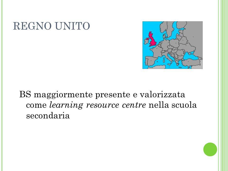 REGNO UNITO BS maggiormente presente e valorizzata come learning resource centre nella scuola secondaria.