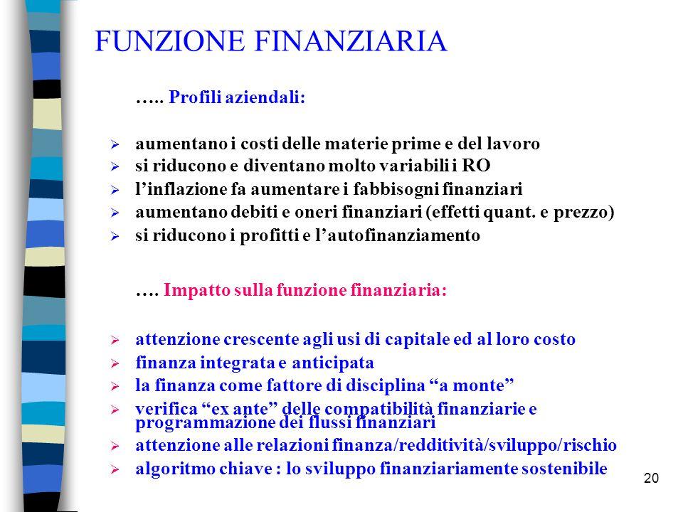 FUNZIONE FINANZIARIA ….. Profili aziendali: