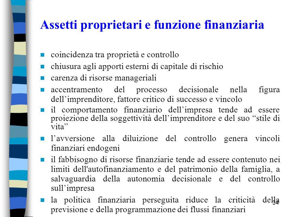 Assetti proprietari e funzione finanziaria