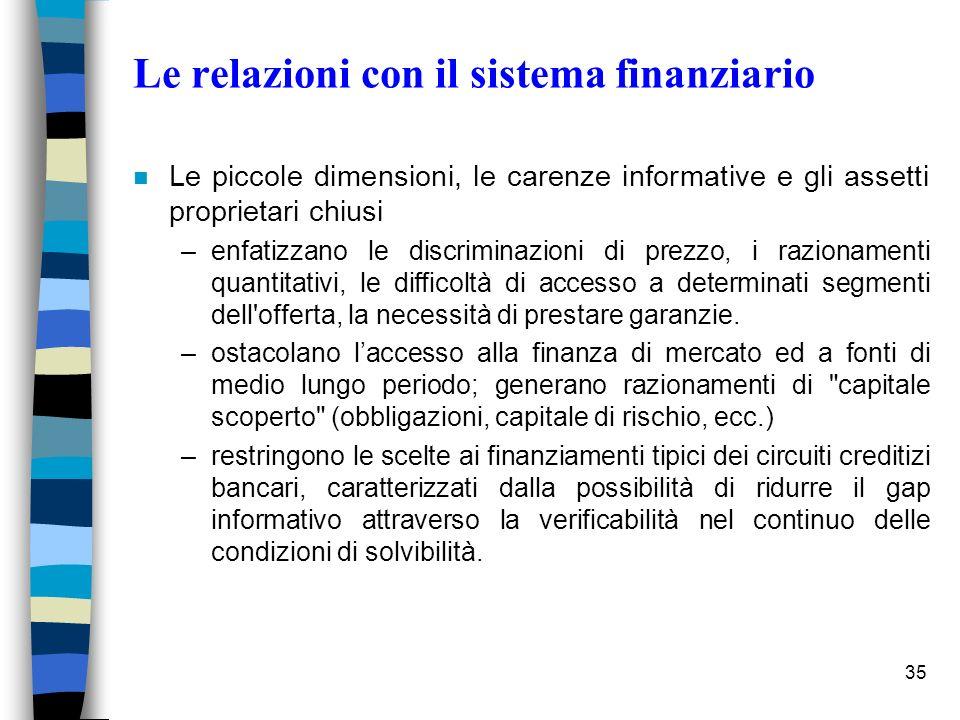 Le relazioni con il sistema finanziario