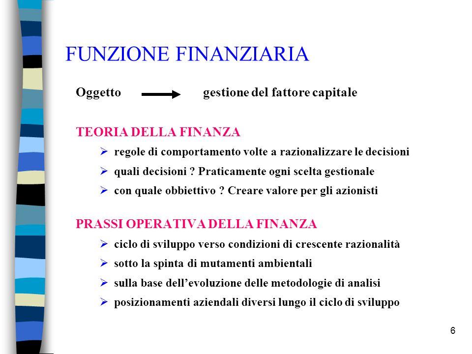 FUNZIONE FINANZIARIA Oggetto gestione del fattore capitale