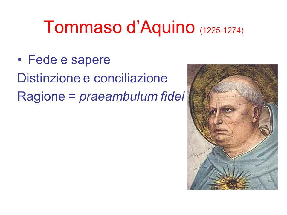 Tommaso d'Aquino (1225-1274) Fede e sapere Distinzione e conciliazione