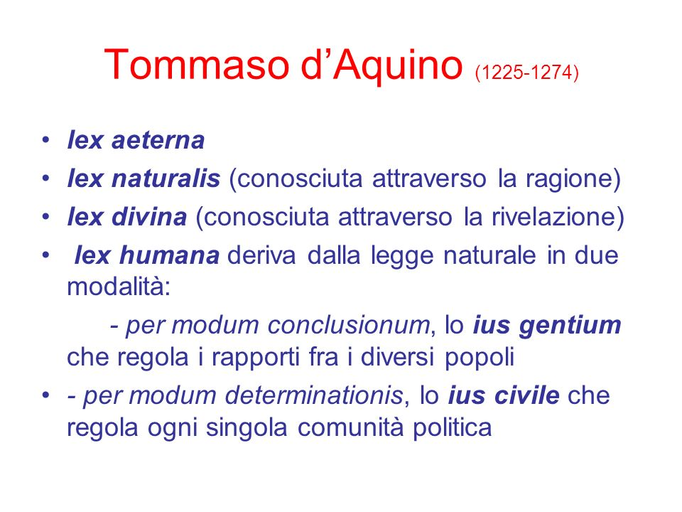 Tommaso d'Aquino (1225-1274) lex aeterna