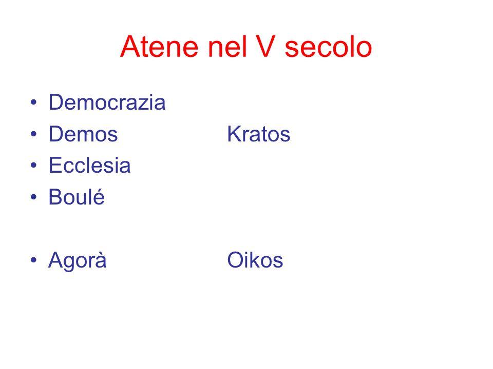Atene nel V secolo Democrazia Demos Kratos Ecclesia Boulé Agorà Oikos
