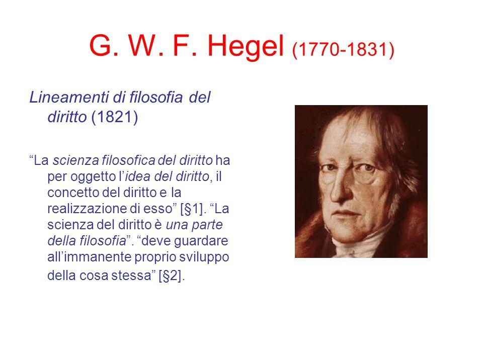 G. W. F. Hegel (1770-1831) Lineamenti di filosofia del diritto (1821)