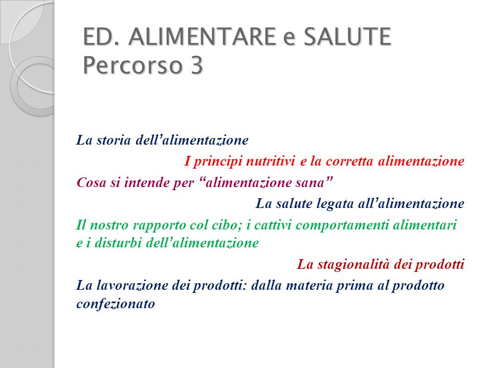 ED. ALIMENTARE e SALUTE Percorso 3
