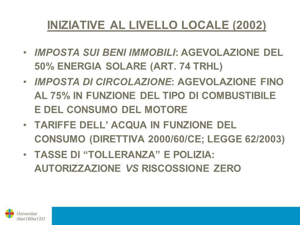 INIZIATIVE AL LIVELLO LOCALE (2002)