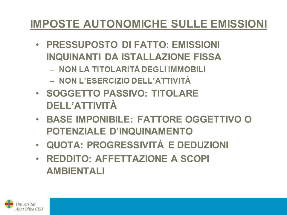 IMPOSTE AUTONOMICHE SULLE EMISSIONI