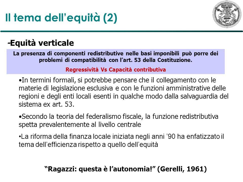 Il tema dell'equità (2) -Equità verticale