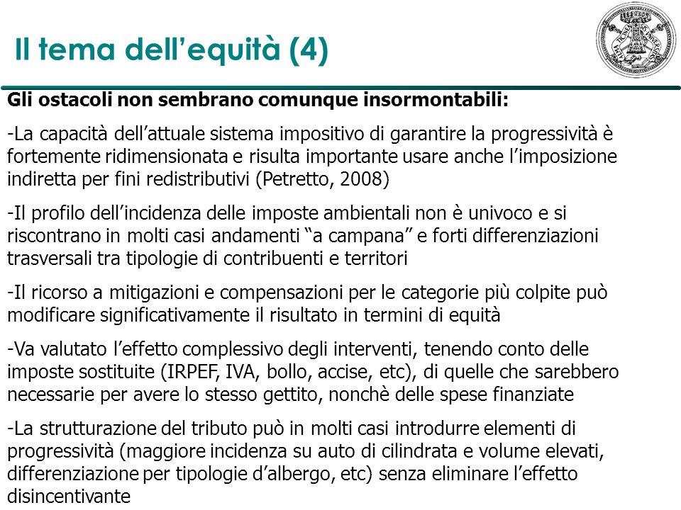 Il tema dell'equità (4) Gli ostacoli non sembrano comunque insormontabili: