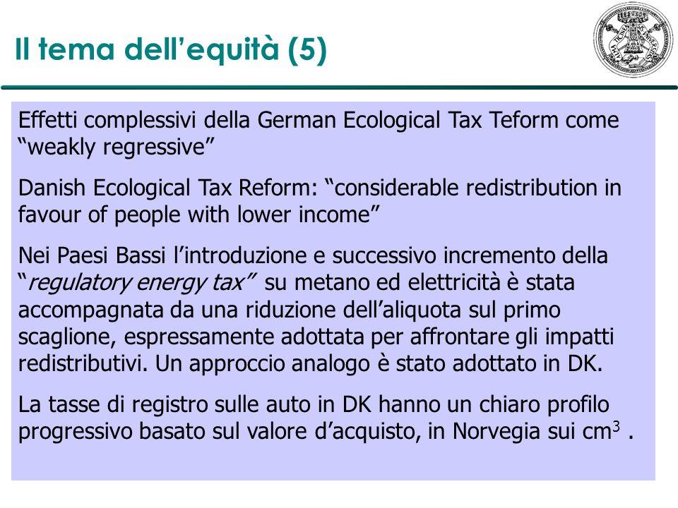 Il tema dell'equità (5)Effetti complessivi della German Ecological Tax Teform come weakly regressive