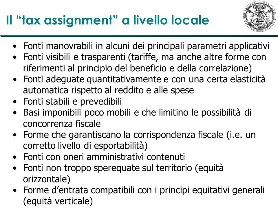 Il tax assignment a livello locale