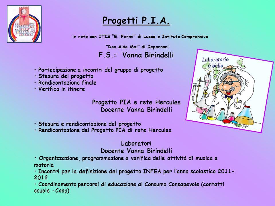 Progetti P.I.A. F.S.: Vanna Birindelli