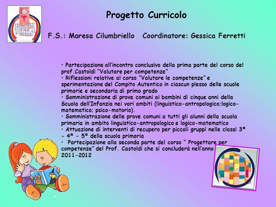 F.S.: Maresa Cilumbriello Coordinatore: Gessica Ferretti