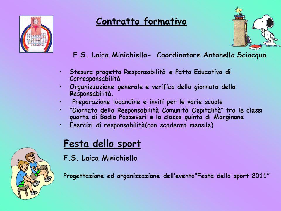 F.S. Laica Minichiello- Coordinatore Antonella Sciacqua