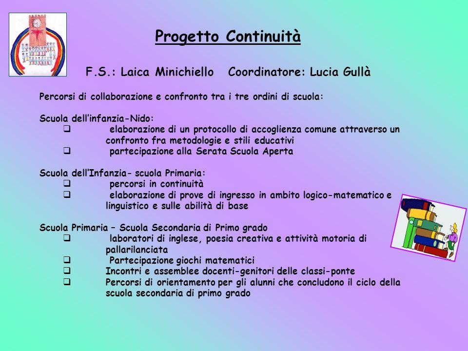F.S.: Laica Minichiello Coordinatore: Lucia Gullà